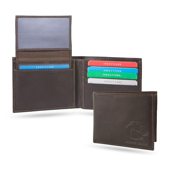 Boise State Broncos Billfold Genuine Leather Bifold Wallet