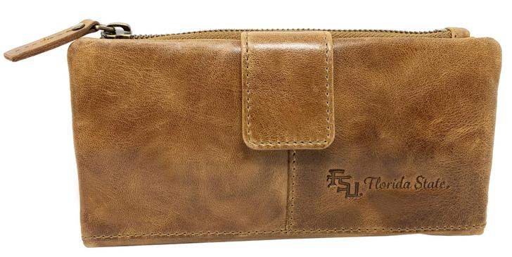 Women's FSU Florida State University Clutch Wallet Leather Snap Clutch