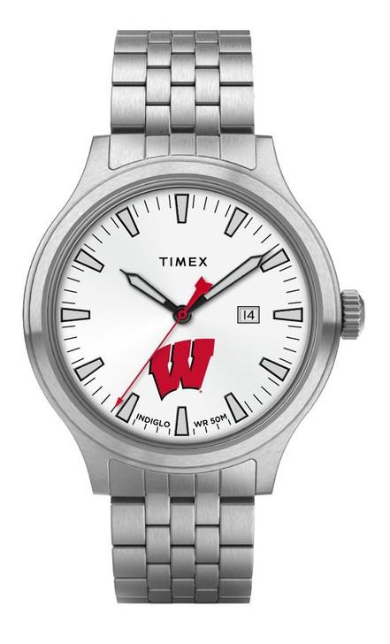 Men's University of Wisconsin Badgers Watch Stainless Steel Top Brass