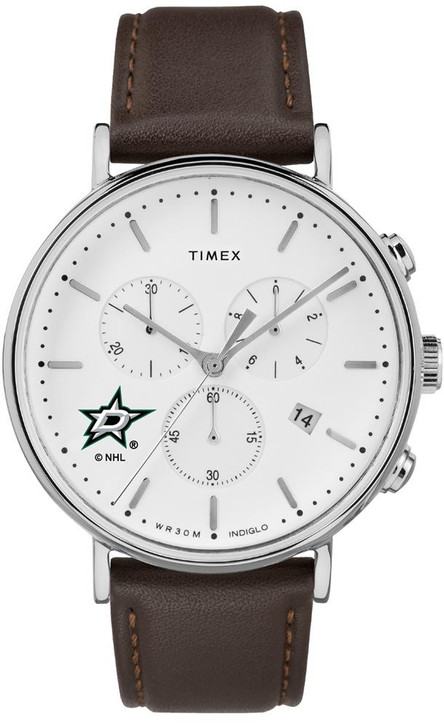 Mens Dallas Stars Watch Chronograph Leather Band Watch