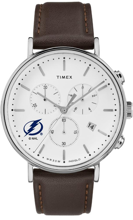 Mens Tampa Bay Lightning Watch Chronograph Leather Band Watch