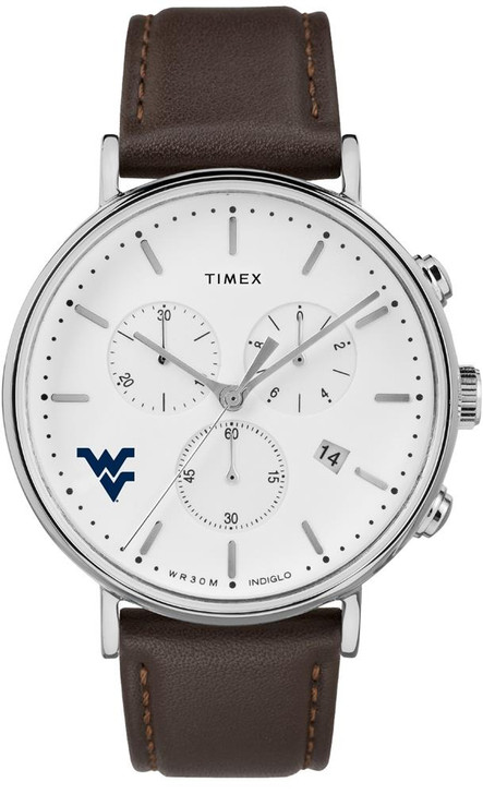 Mens West Virginia Mountaineers Watch Chronograph Leather Band Watch