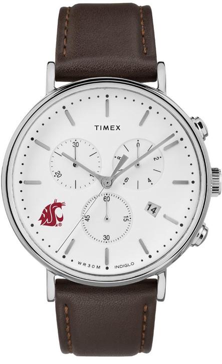 Mens Washington State University Watch Chronograph Leather Band Watch