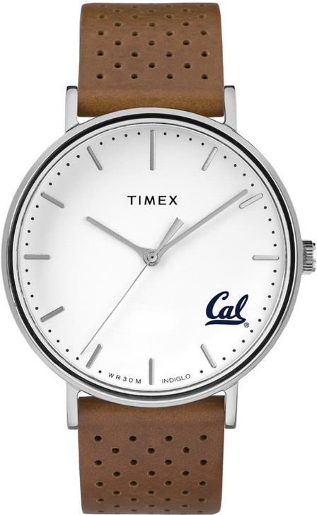 Womens Timex Cal Berkeley Golden Bears Watch Bright Whites Leather