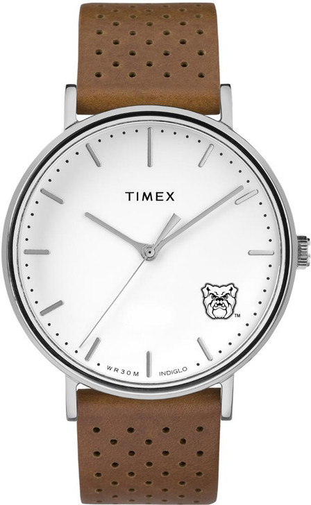 Womens Timex Butler University Watch Bright Whites Leather