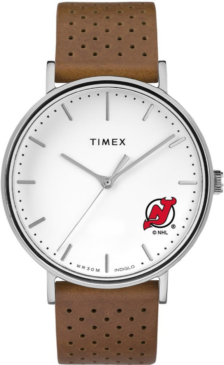 Womens Timex New Jersey Devils Watch Bright Whites Leather