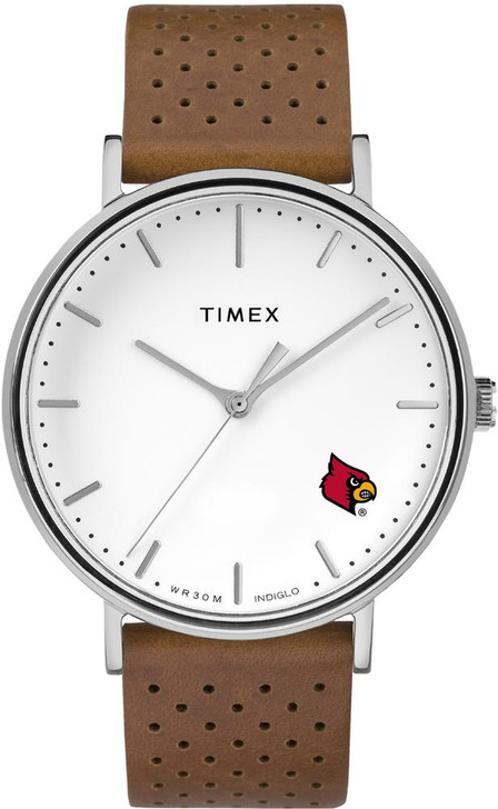 Womens Timex Louisville Cardinals Watch Bright Whites Leather