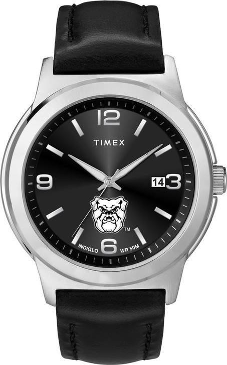 Men's Butler University Watch Black Leather Band Timex Ace