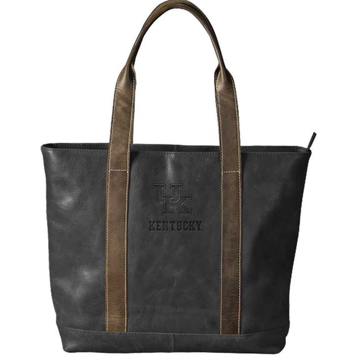 Kentucky Wildcats UK Tote Bag Black Genuine Leather Tote