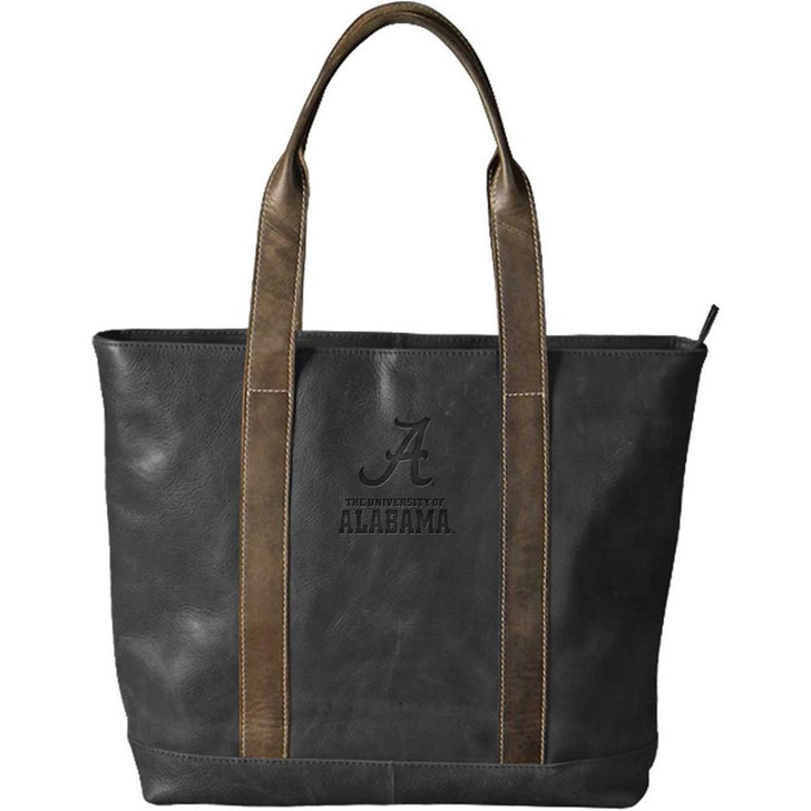 Alabama Crimson Tide Bama Tote Bag Black Genuine Leather Tote