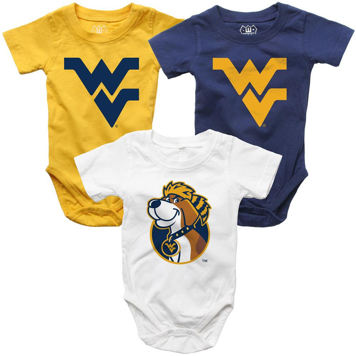 Infant West Virginia Mountaineers Bodysuits 3 Pack Organic Cotton Set