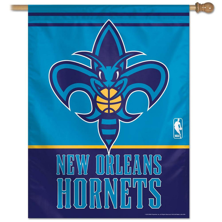 New Orleans Hornets Vertical Outdoor House Flag Outdoors
