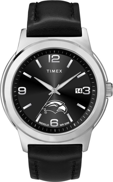 Men's Southern Miss USM Watch Black Leather Band Timex Ace