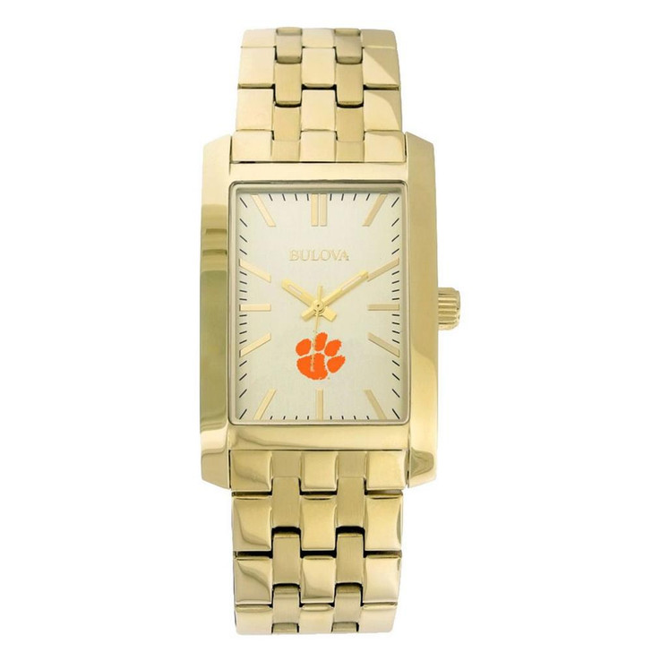 Men's Clemson University Tigers Bulova Gold Rectangle Watch