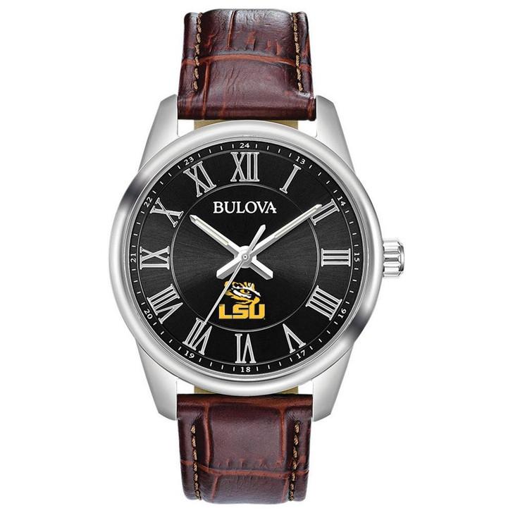 Men's LSU Tigers Louisiana State Bulova Brown Leather Watch