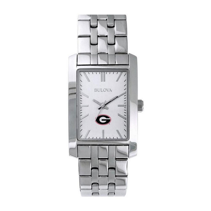 Women's Georgia Bulldogs UGA Bulova Silver Rectangle Watch