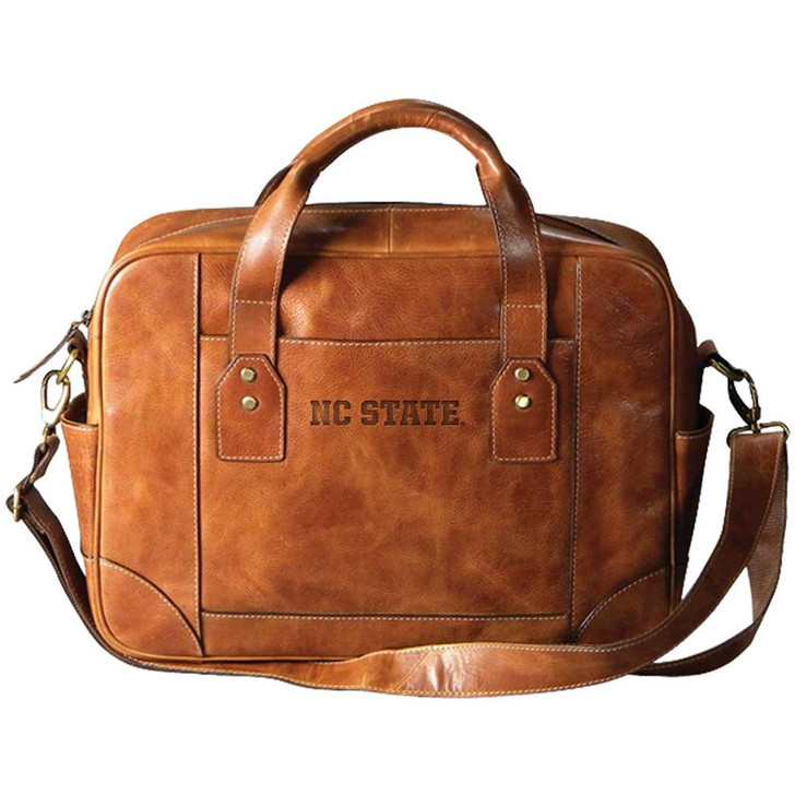 NCSU Wolfpack Buiness Case Genuine Tan Leather