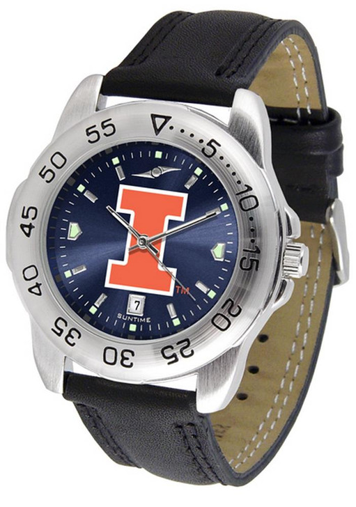 Men's University of Illinois Watch Leather Sports Watch