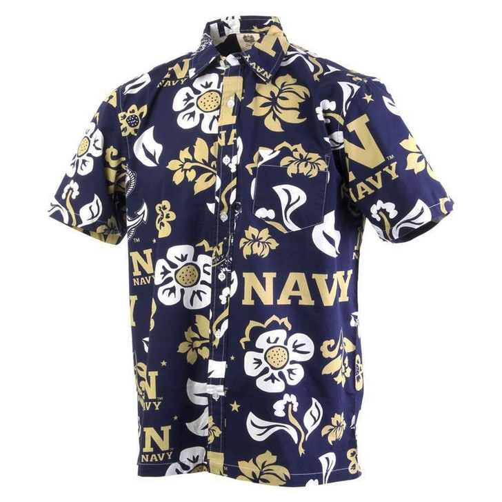 Men's Naval Academy Navy Floral Shirt Button Up Beach Shirt