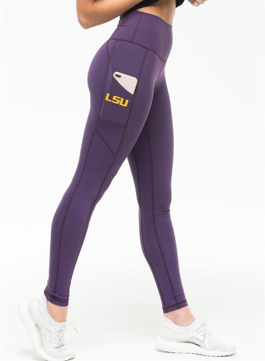 Ladies LSU Tigers Louisiana State iLeggings Yoga Pants by Kadyluxe