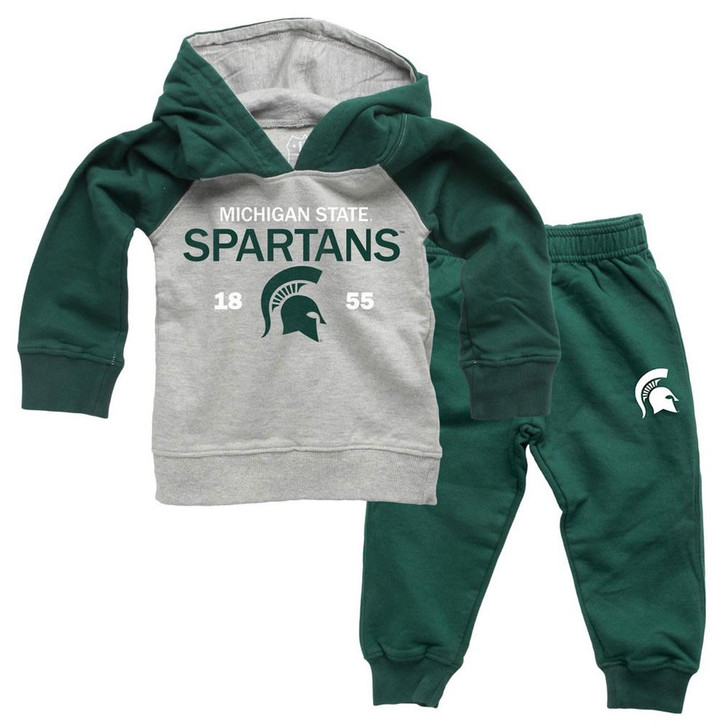 Infant/Toddler Raglan Michigan State University Hoodie and Pant Set