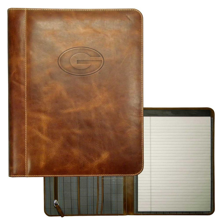 Georgia Bulldogs UGA Padholder Tan Genuine Leather Padfolio
