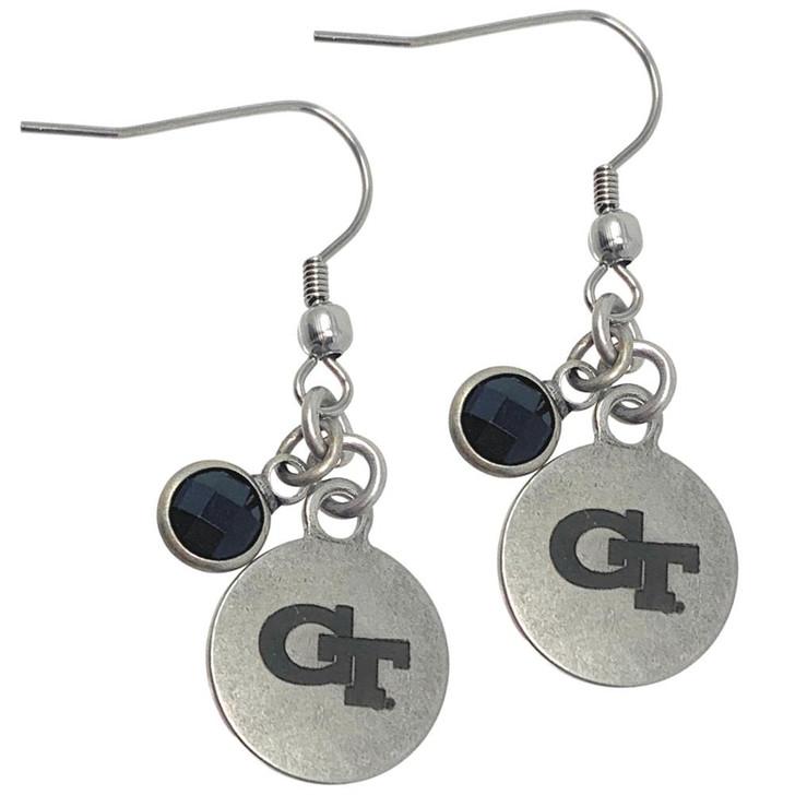 Women's Georgia Tech GT Earrings Dangle Silver Charmed