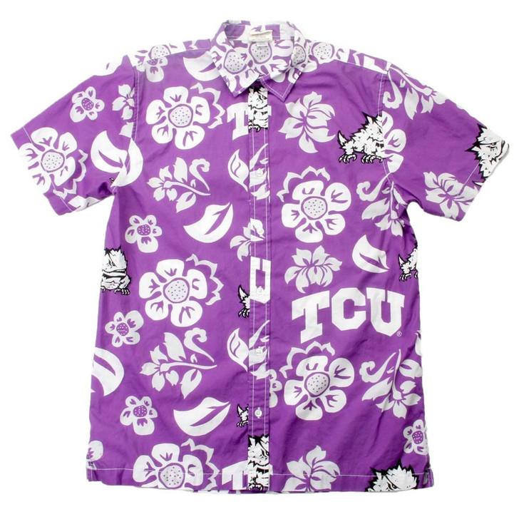 Men's TCU Texas Christian Floral Shirt Button Up Beach Shirt