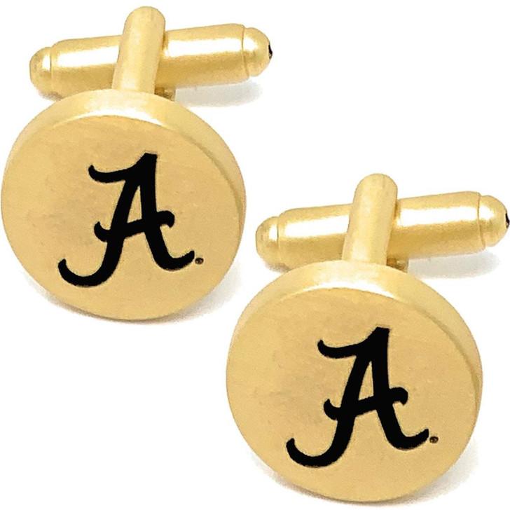 Alabama Crimson Tide Bama Cuff Links Brushed Gold Cufflink Set