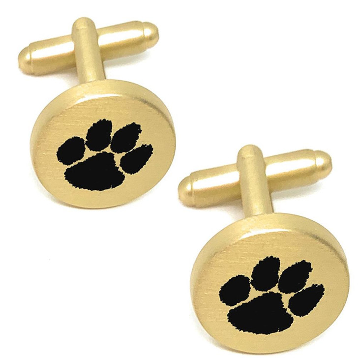 Clemson University Tigers Cuff Links Brushed Gold Cufflink Set