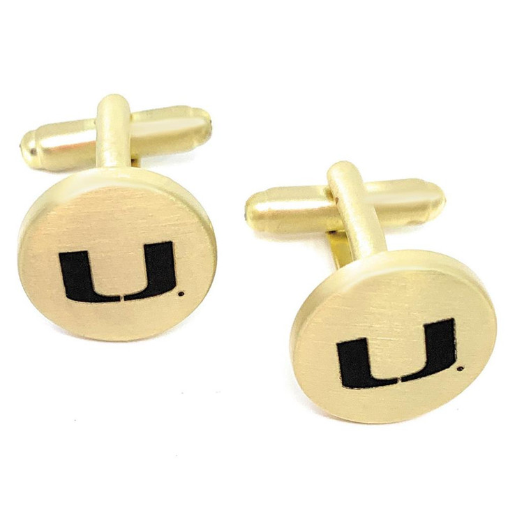 University of Miami Hurricanes Cuff Links Brushed Gold Cufflink Set