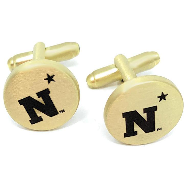 Naval Academy Navy Cuff Links Brushed Gold Cufflink Set