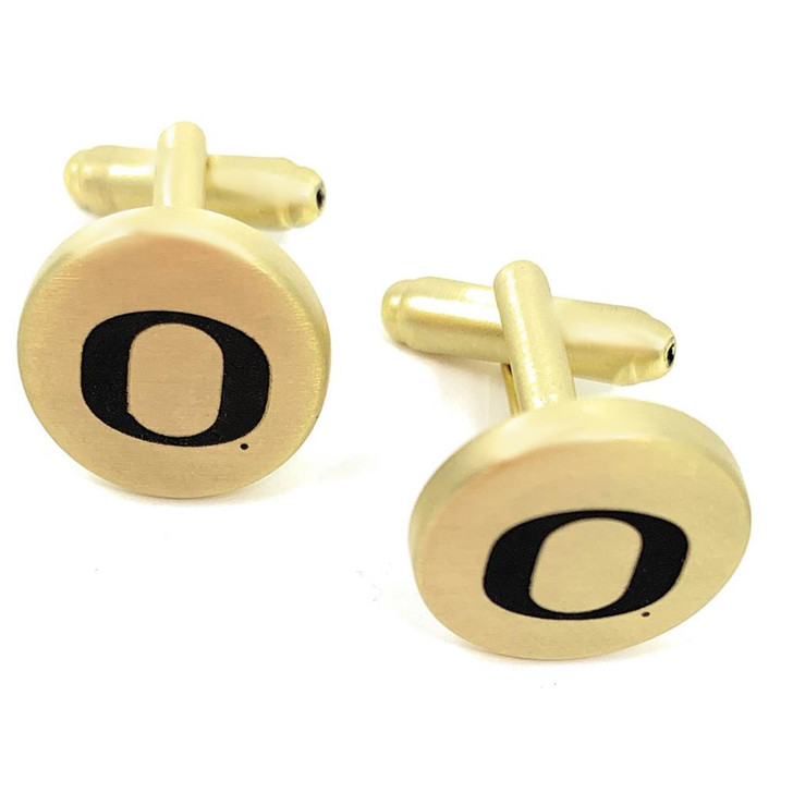 University of Oregon Ducks Cuff Links Brushed Gold Cufflink Set