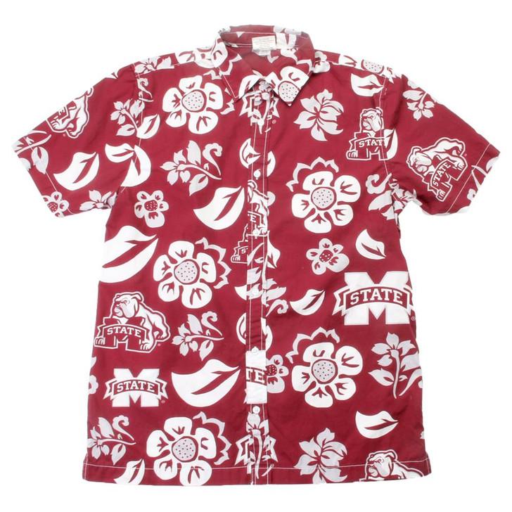 Men's Mississippi State Bulldogs Floral Shirt Button Up Beach Shirt
