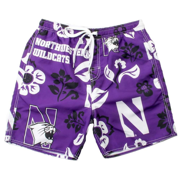 Men's Northwestern University Swim Trunks Floral Swim Shorts