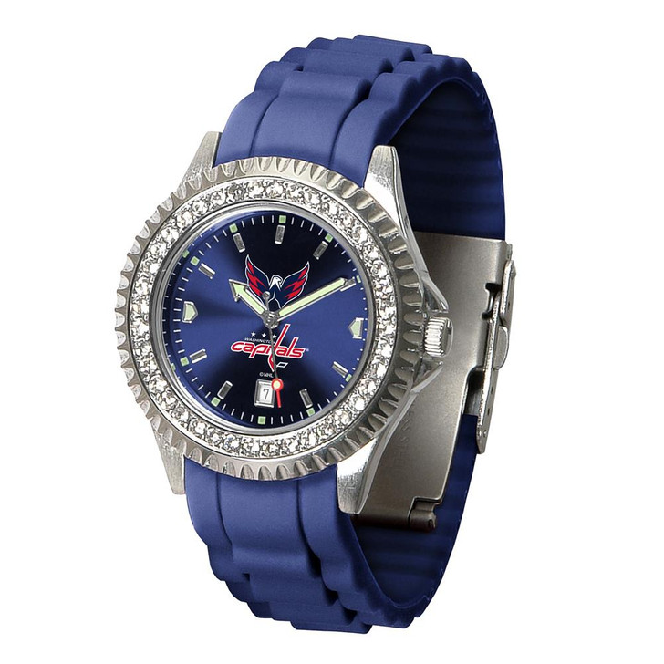 Ladies Washington Capitals Watch Silcone Band Crystal Bezel