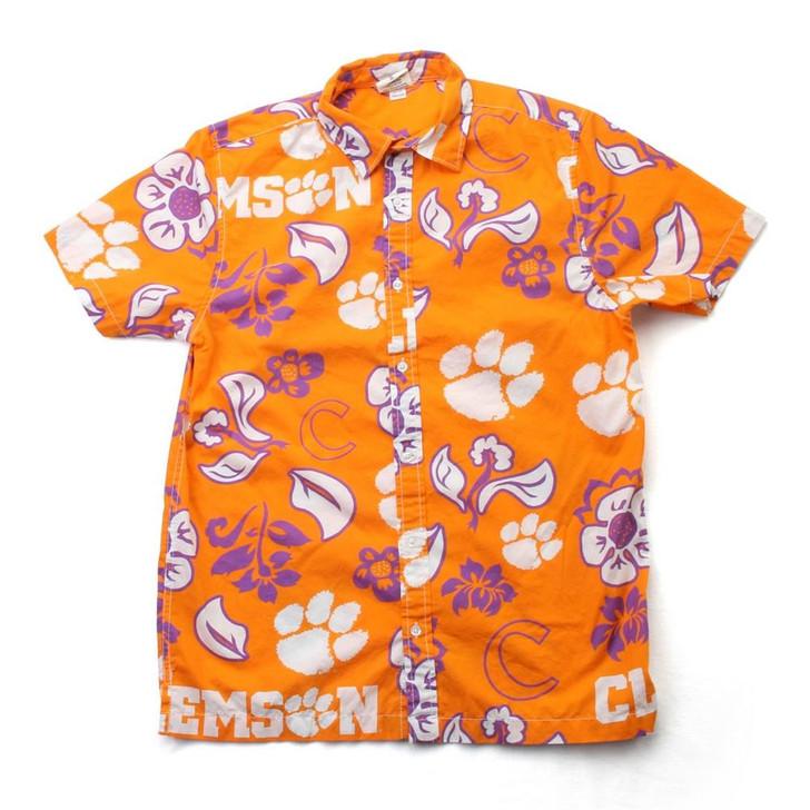 Men's Clemson University Tigers Floral Shirt Button Up Beach Shirt