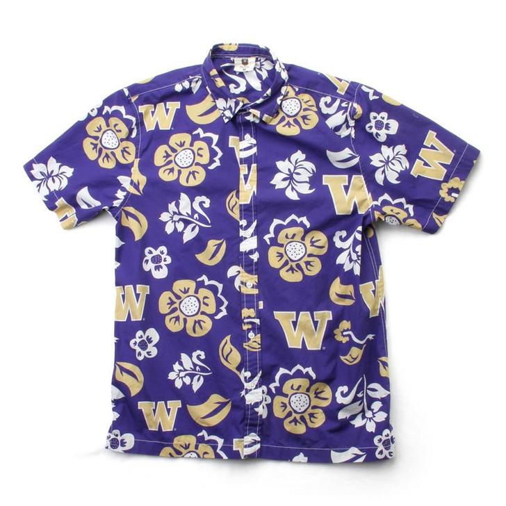 Men's University of Washington Floral Shirt Button Up Beach Shirt