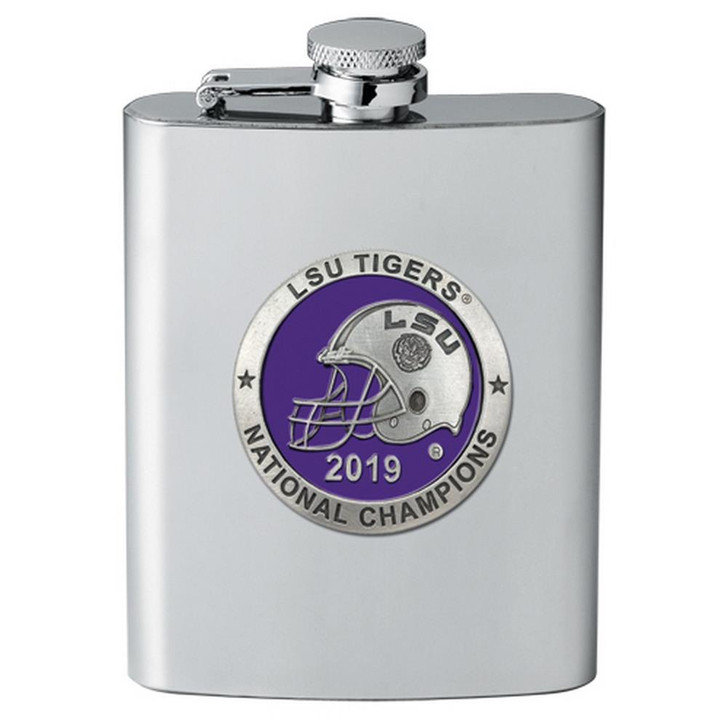 2019 Champions LSU Tigers Louisiana State Flask 8 oz Stainless Steel Pewter Logo