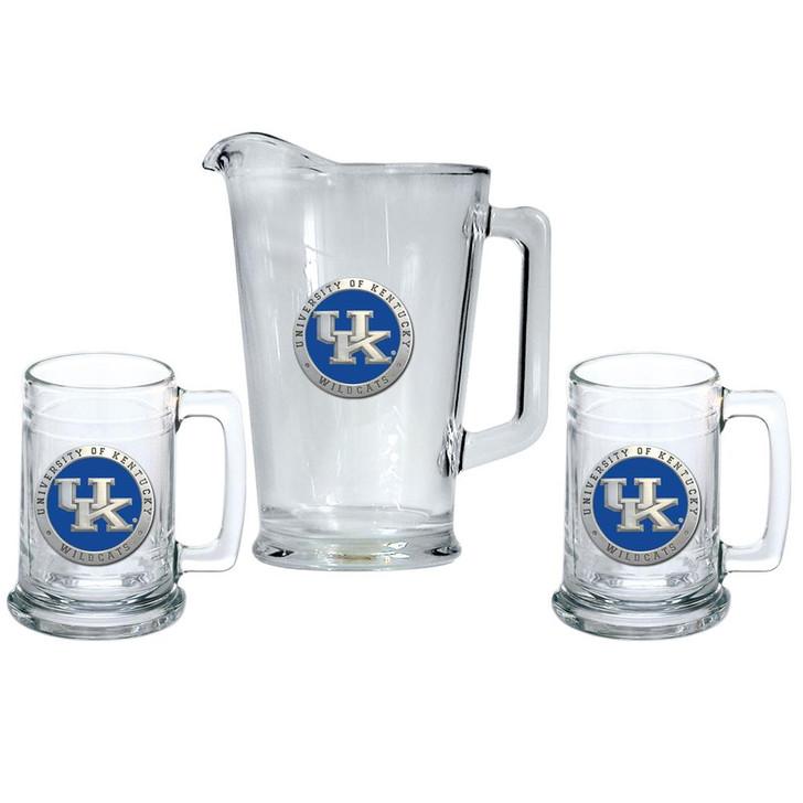 Kentucky Wildcats UK Pitcher and 2 Stein Glass Set Beer Set