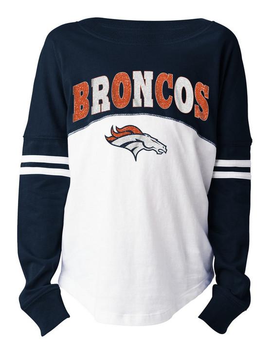 Girls Denver Broncos T-Shirt New Era Long Sleeve Tee