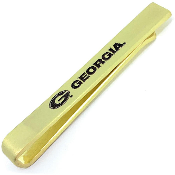 Georgia Bulldogs UGA Tie Clip Gold Tie Bar Gift Set