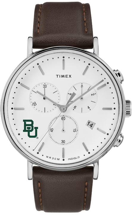 Mens Baylor University Bears Watch Chronograph Leather Band Watch