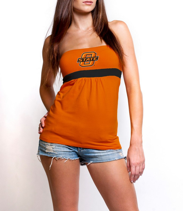 Junior Cut Oklahoma State University Women's Shirt Tube Top with Gathers