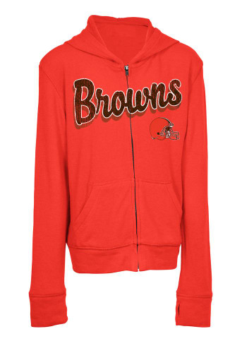 Girls Cleveland Browns Hoodie Full Zip Brushed Knit Jacket-4811