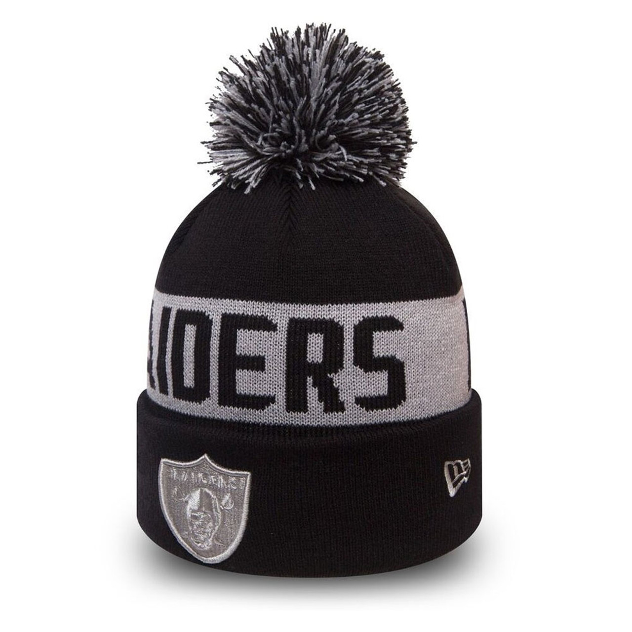 67ebd3de1c2 NEW ERA oakland raiders NFL black collection knit bobble beanie hat ...