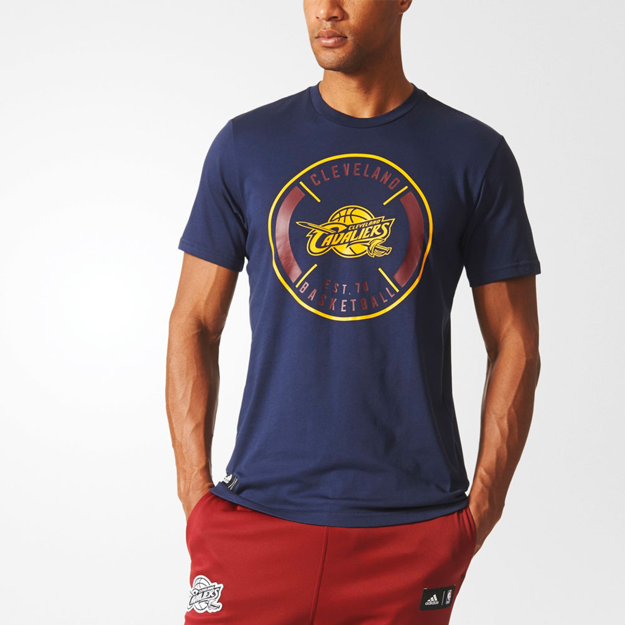 7d7c0953349 ADIDAS cleveland cavaliers basketball climalite cotton t-shirt [navy]