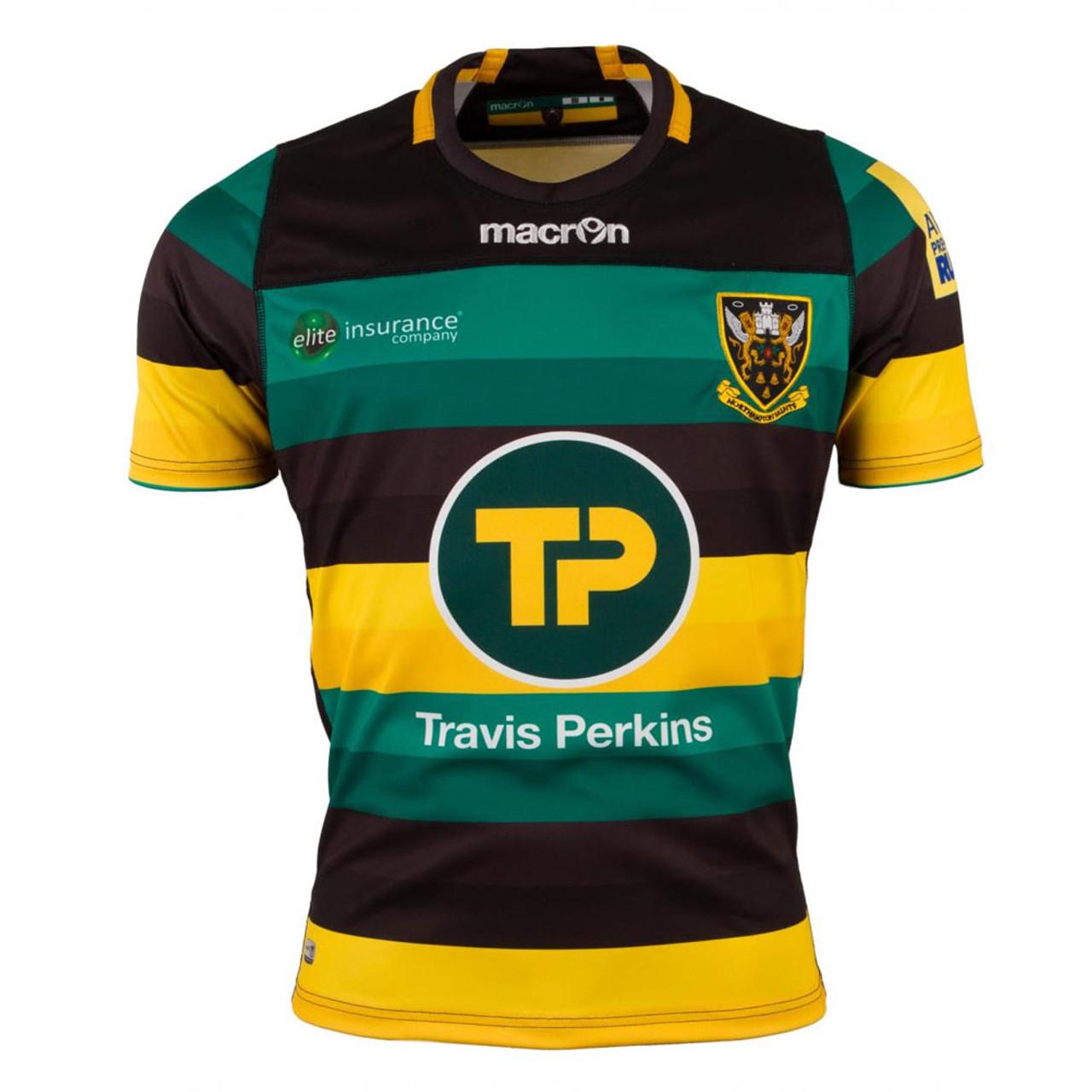 06ad0c035 MACRON northampton saints home match rugby shirt  blk grn