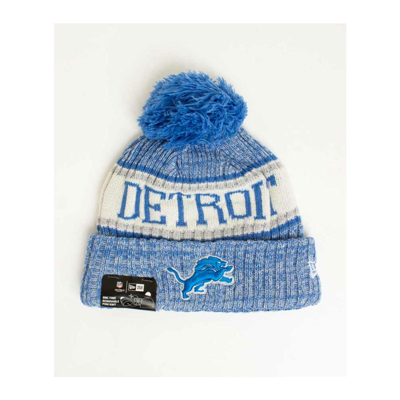 reputable site 76728 6fec6 NEW ERA Detrit Lions NFL sideline knit bobble beanie hat  blue