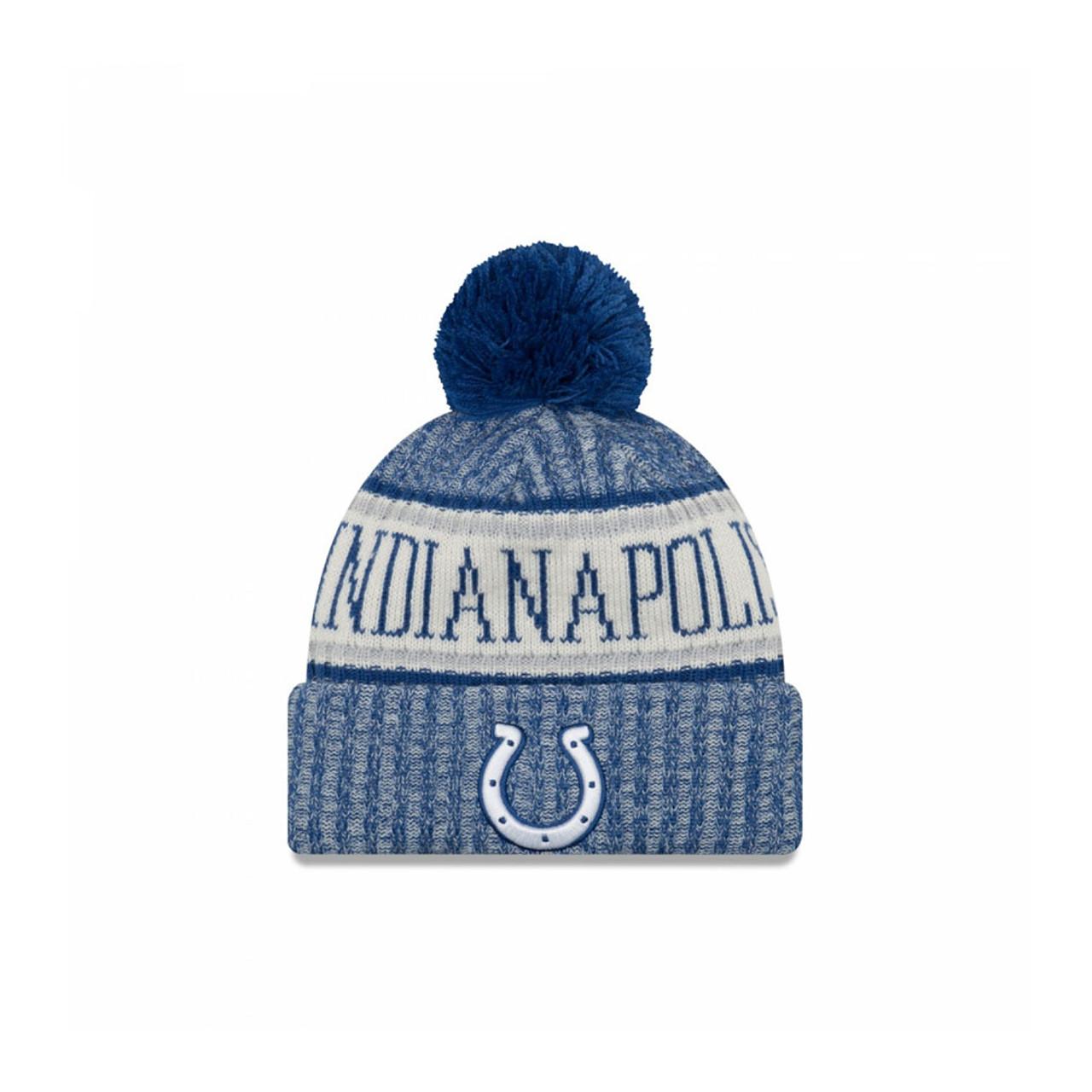 57134cdea45 NEW ERA Indianapolis Colts NFL sideline knit bobble beanie hat  blue